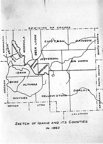 Sketch of Idaho Counties 1863